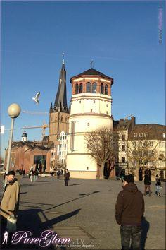 Rheinuferpromenade at river Rhine/Rhein - looking at Burgplatz with Schifffahrtmuseum, Schlossturm and St. Lambertus - Dusseldorf/Duesseldorf/Düsseldorf, Germany/Deutschland
