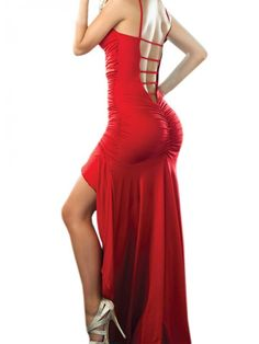 Modern Dresses: Red Hollow Back Strap Ruched Maxi Asymmetric Party