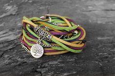 Autumn boho bracelet Boho wrap bracelet Hippie Gypsy by SweetlyART