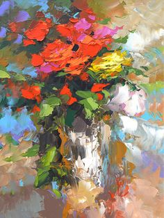 Items similar to Roses - Palette oil with knife on canvas by Dmitry Spiros, size: 24 x 32 in, x 80 cm) on Etsy - Description of the artist: Roses – oil palette knife painting by Dmitry Spiros, 24 x 32 in, - Oil Painting Flowers, Abstract Flowers, Oil Painting Abstract, Texture Painting, Abstract Art, Abstract Nature, Gouache Painting, Abstract Landscape, Bird Paintings On Canvas