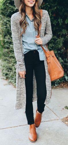 #thanksgiving #outfits Grey Cardigan // Denim Shirt // Black Jeans // Leather Ankle Boots // Leather Shoulder Bag