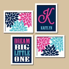 Wall Art Nursery Canvas Artwork Girl Child Floral Flower  Navy Blue Pink Dream Big Monogram Set of 4 Prints  Baby Decor  Crib