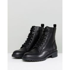 Steve Madden Officer Leather Flat Lace Up Ankle Boots (224 CAD) ❤ liked on Polyvore featuring shoes, boots, ankle booties, lace up chunky heel booties, laced up wedge booties, wedge booties, lace-up booties and platform booties