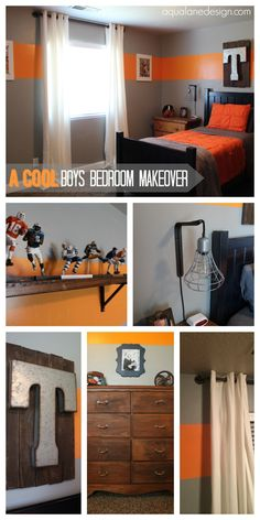 Cool Boys Room! Using metal, wood, rope and pipe you can create some pretty cool and unique things that any boy would love! aqualanedesign.com I would make T's maroon grey.