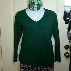 Forest green t shirt Pretty color and so comfortable. 100% cotton. True to 2X size.  Will fit a roomy 1X. I am an XL and this t is too large for me. Nice quality. AVA & VIV Tops Tees - Long Sleeve