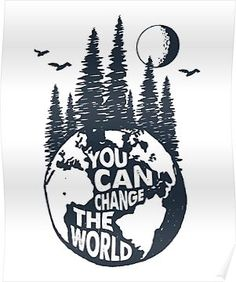"""""""You Can Change the World Earth with Trees, Full Moon & Birds"""" Posters by Magnet. - """"You Can Change the World Earth with Trees, Full Moon & Birds"""" Posters by MagneticMama Save Planet Earth, Save Our Earth, Save The Planet, Save Mother Earth, Save Earth Posters, Earth Drawings, Drawing Of Earth, Mother Earth Drawing, Planet Drawing"""