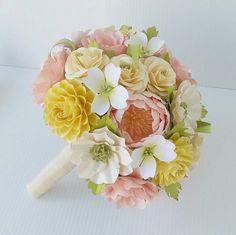 Paper Flower Bouquet- Southern Delight - Pink and Yellow - Dogwoods - Dahlias - Wedding Bouquet - Wedding Flowers - Wedding Decor