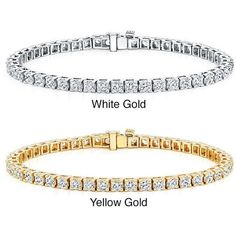 Auriya 14k Gold 3 2/5ct TDW Diamond 8-inch Tennis Bracelet ($2,269) ❤ liked on Polyvore featuring jewelry, bracelets, white, gold jewellery, white gold bangle, gold diamond jewelry, white gold jewelry and gold jewelry