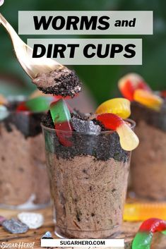 """Dirt Pudding Cups are a fun and easy dessert, perfect for making with kids! All you need are a few common ingredients, and you can be enjoying """"worms"""