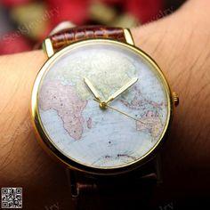 mens maps watches world maps wristwatch genuine by seekjewelry 1449