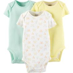 Child Of Mine by Carter's Newborn Baby Short Sleeve Bodysuit, 3 Pack