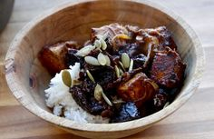 Tofu and Prunes....The Buddhist Chef  (omit the tomato paste)
