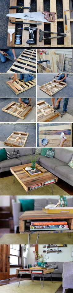 Coffee table off Euro-pallets and metal legs