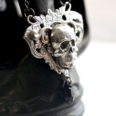 NEW  Abel Necklace  Skull Angel WIngs Swarovski by blackpersimmons, $37.00