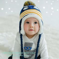 Baby Toddler Ear Protection Cap Penguin Pattern Earflap Knitted Caps Boy  Girl Kids Winter Warm Hats 3b8575348315
