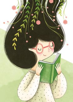 Illustration for booklovers - elisa ferro - Art And Illustration, Character Illustration, Illustrations, Watercolor Illustration, Mini Drawings, Cartoon Kunst, Cartoon Art Styles, Cute Cartoon Wallpapers, Anime Art Girl