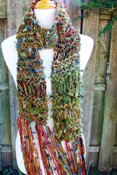 Chunky Funky Hand Knit Scarf Rust Brown and Green Tones by Fanchi, $30.00