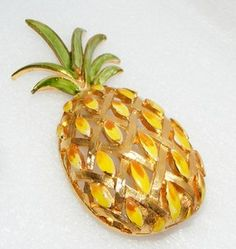 Vintage Vendome Big Enamel Pineapple Pin Brooch Fruit Figural Costume Jewelry | eBay SOLD