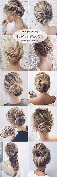 Makeup & Hair Ideas: Lena Bogucharskaya long wedding hairstyles for bride - Juli.- Make-up & Haar Ideen: Lena Bogucharskaya lange Hochzeitsfrisuren für die Braut - Julie Poirier - - Wedding Hairstyles For Long Hair, Wedding Hair And Makeup, Up Hairstyles, Pretty Hairstyles, Hair Makeup, Hairstyle Wedding, Hair Styles For Wedding, Wedding Braids, Bride Makeup