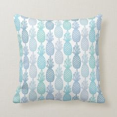 Ad: Fun tropical pineapple pattern. #tropical #pineapple #fruit #fruity #pastel #summer #cute #multicolor #blue #throwpillow Pineapple Pattern, Custom Pillows, Tropical, Keep It Cleaner, Holiday Cards, Your Design, Make It Yourself, Blue, Fabric
