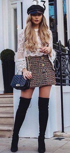 #winter #outfits white lace long-sleeved top, gray skirt, and black knee high boots outfit