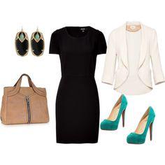 black dress + white jacket + aqua shoes....but I would want a scoop or v-neck dress. Otherwise I feel like I'm choking...lol