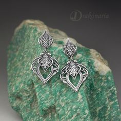 "Silver ""Forest queen"" earrings by Anna Mazon - Drakonaria. www.drakonaria.com https://www.etsy.com/shop/drakonaria"