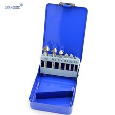 24.83$  Buy here - http://alisfu.shopchina.info/go.php?t=32788086875 - straight shank 6pcs/Set 3 Flute HSS Hard Metals Titanium Three Edge Chamfer Chamfering Cutter Countersink Drill Bit in Tin box 24.83$ #buyininternet