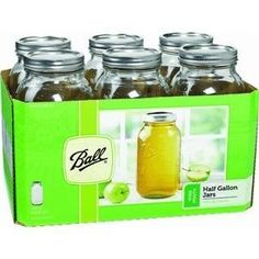 Half Gallon Wide Mouth glass jars: for soup and stock storage, nut butters, fermenting, sprouting, soaking, etc.
