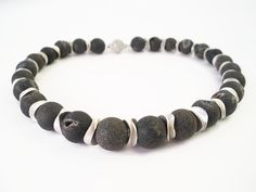 GIFT IDEA Grey  beaded gemstone choker necklace of  Baracuda agate, and sterling silver finished with a magnetic lock.