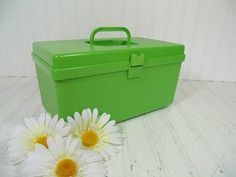 Retro Lime Green Wilhold Wilson Sewing Box - Vintage Rectangular Plastic 2 Piece Carry All - Crafters Tote Organizer - Artisans Tool Chest $23.00  by DivineOrders