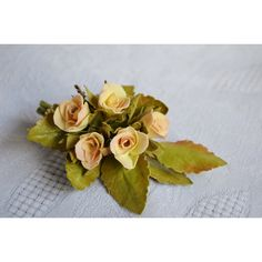 Wedding Yellow Shabby Chic Flower Rose Bridal Brooch, Romantic Floral... ($19) ❤ liked on Polyvore featuring jewelry, brooches, bride jewellery, rose jewelry, bride jewelry, anniversary jewelry and yellow rose brooch