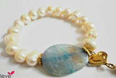 Pulsera perla de río c piedra