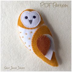 Barn Owl Feltie PDF Pattern - Easy-to-Sew Make your own barn owl feltie with this easy sewing pattern and tutorial. This adorable little owl is made entirely from felt with just a few embellishments and embroidered features. At 5 inches tall he will make a lovely decoration or cute keyring/bag charm or gift topper. A perfect little handmade gift for family and friends. PLEASE NOTE: This is not a finished item and you will not receive the finished barn owl or supplies in the post…