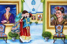 Print Frida Kahlo / Frida and Diego Rivera kissing in  museum /  Mexican Art  Frida Kahlo / Mexico / Fida Kahlo Dress / Original Art by kMadisonMooreFineArt