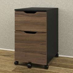 Caster wheels ensure easy mobility for the Nexera Next Mobile File Cabinet - Black / Walnut . This durable filing cabinet has two spacious drawers,. Wood File, Printer Stand, Mobile File Cabinet, Office Furniture Stores, Filing Cabinet, Drawers, Storage, Home Decor