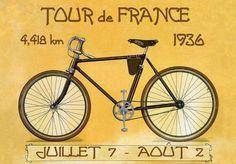 Tour de France Bike Bicycle Cycle 1936 Race Sport Vintage Poster ...