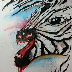 Zebra - Referência Victor Octaviano #Watercolor #Ecoline #art