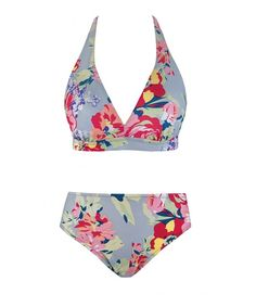 b287fee0498 Womens Sexy Halter Bikini Boho Floral Printed Two Piece Swimsuits With  Triangle Bikini Top - Light Blue - C21809RZW5L