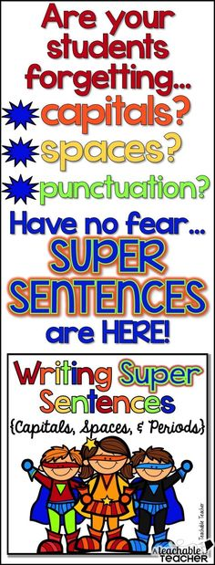 Visual posters, worksheets writing practice, and a mini book for teaching sentence writing (capitals, spaces, and periods).  Great for ESL's and posters can be left up ALL year!  Cute theme! | teaching sentence structure | teaching writing | teaching reading | teaching grammar, punctuation worksheets sentence writing worksheets writing sentences reading sentences teaching tips teacher resources.