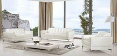3 Piece White Leather Sofa Set for Living Room
