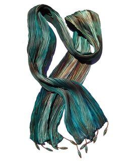 Arashi Shibori hand painted silk scarf in Teal and Brown