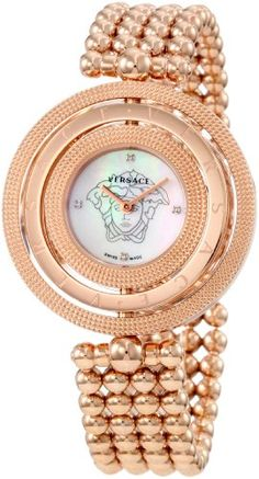 Versace Women's Eon 3 Rings IP Rose Gold Bracelet with Mother-of-Pearl Dial and Diamond Accents Watch
