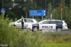 Police blocks a road in Laukaa, Finland on July 10, 2013. A... #vihtavuori: Police blocks a road in Laukaa, Finland on July… #vihtavuori