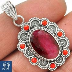 SP-17227-RUBY-RED-CORAL-925-STERLING-SILVER-PENDANT-CHAIN