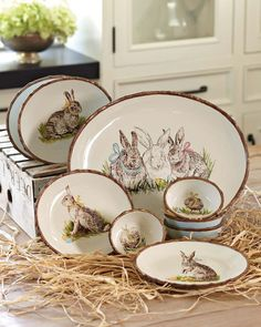 """Easter Meadow Dinnerware Collection - Dishwasher safe. Platter: 16 1/4"""" x 11 3/4"""". Salad plates: 8 1/2"""" diam. Ramekins: 4-oz. cap.; 4 3/4"""" x 4"""". Egg plate: 10"""" x 8 1/2"""". Holds 12 eggs.  http://www.williams-sonoma.com/products/easter-meadow-dinnerware-collection/?pkey=ceaster-tabletop"""