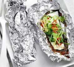 Steamed fish & pak choi parcels