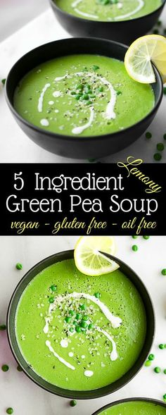 Easy vegan Green Pea Soup. This 5 ingredient soup is simple and satisfying.   Healthy vegan soup, gluten free vegan soup, healthy plant based recipes. Easy vegan soups.
