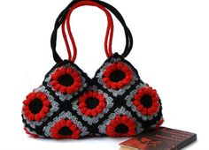 Crochet afghan handbag in red with flowers crochet bag by zolayka, $85.00