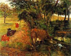 Paul Gauguin,  Cows near Dieppe (or: Landscape with Cows in an Orchard) on ArtStack #paul-gauguin #art